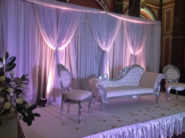 silver sofa asian wedding