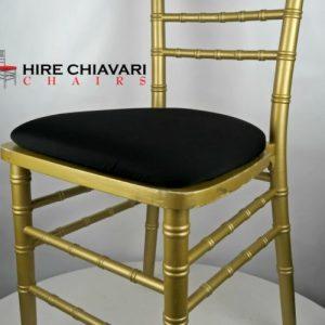 gold chiavari black seat pads